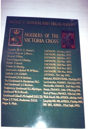 argyll and sutherland highlanders honours board