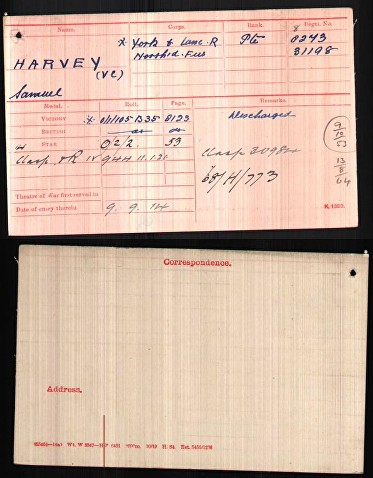 harvey s medal card