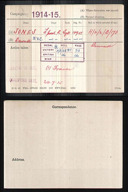 JONES DAVID MEDAL CARD